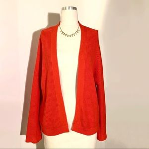 NWOT BP. Orangey-Red Cotton Knitted Cardigan